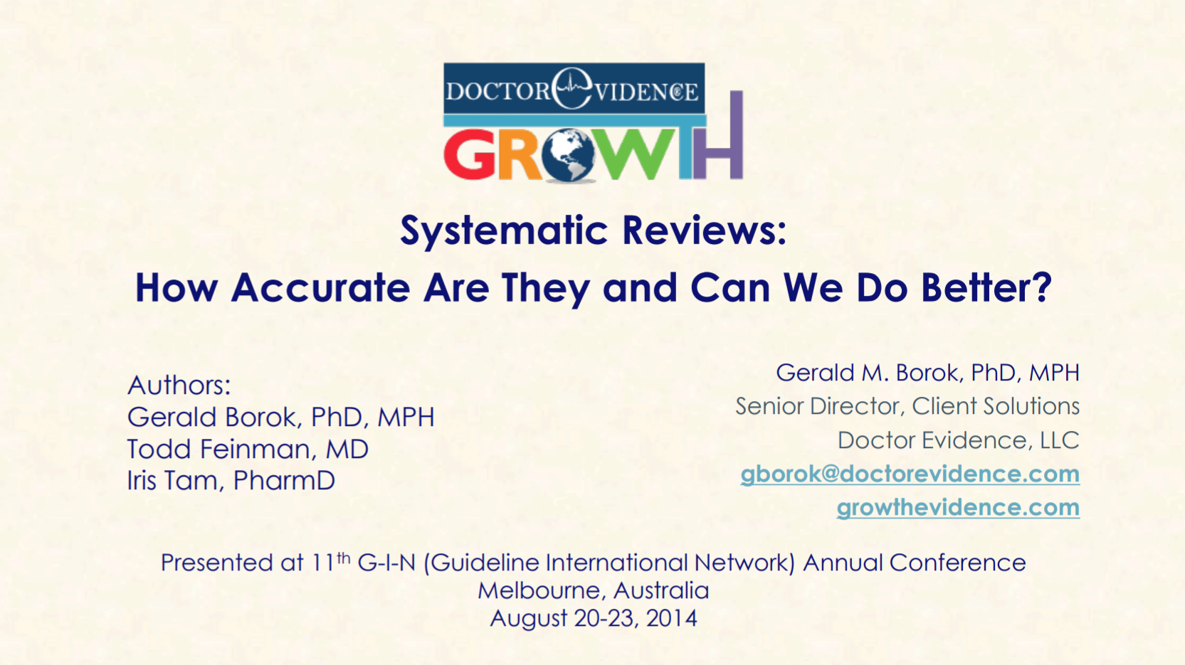 Systematic Reviews-How Accurate Are They and Can We Do Better